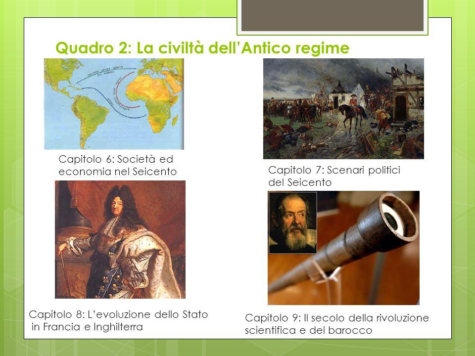 Quadro 2: La civiltà dell'Antico regime Capitolo 6: Società ed economia nel Seicento Capitolo 7: Scenari politici del Seicento Capitolo 8: L'evoluzion