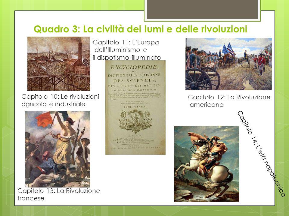 Quadro 3: La civiltà dei lumi e delle rivoluzioni Capitolo 10: Le rivoluzioni agricola e industriale Capitolo 12: La Rivoluzione americana Capitolo 13