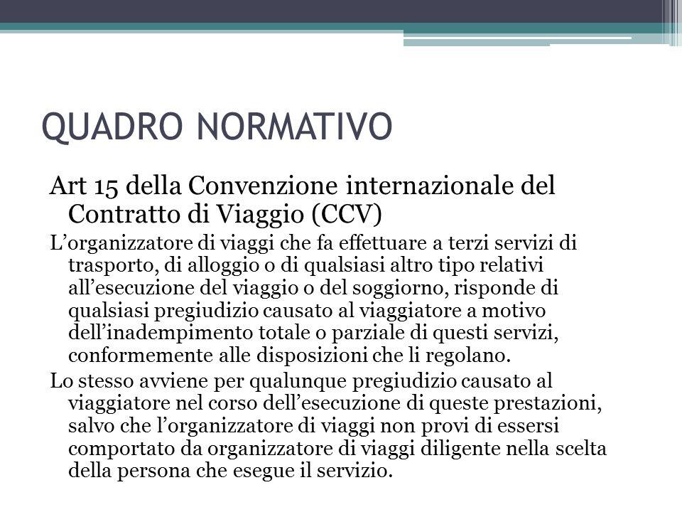QUADRO NORMATIVO Art 15 della Convenzione internazionale del Contratto di Viaggio (CCV) L'organizzatore di viaggi che fa effettuare a terzi servizi di