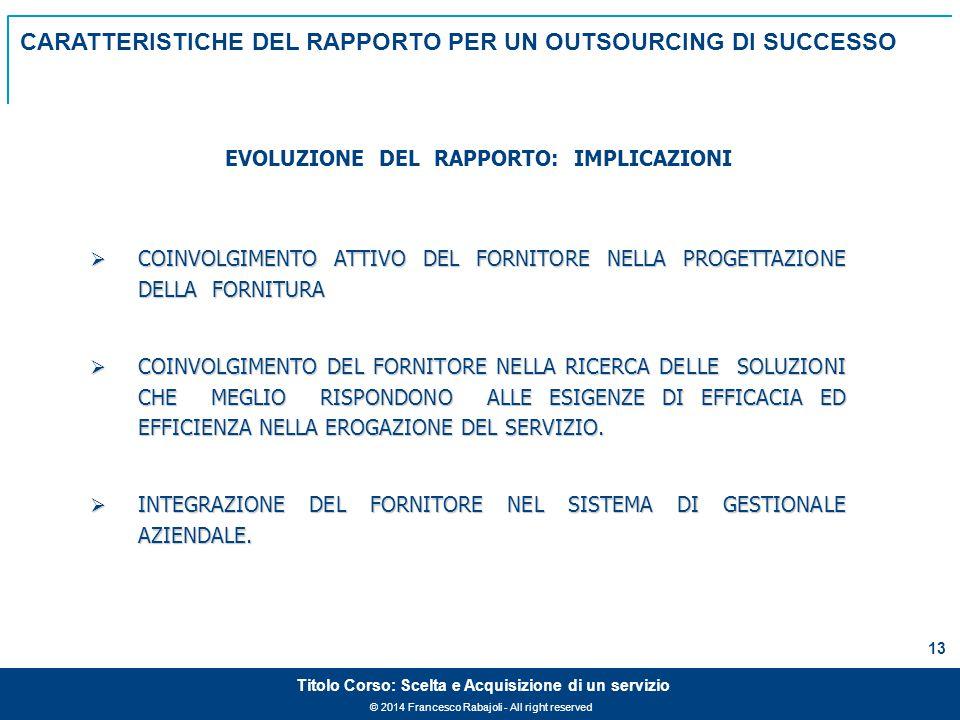 © 2014 Francesco Rabajoli - All right reserved 13 Titolo Corso: Scelta e Acquisizione di un servizio  COINVOLGIMENTO ATTIVO DEL FORNITORE NELLA PROGETTAZIONE DELLA FORNITURA  COINVOLGIMENTO DEL FORNITORE NELLA RICERCA DELLE SOLUZIONI CHE MEGLIO RISPONDONO ALLE ESIGENZE DI EFFICACIA ED EFFICIENZA NELLA EROGAZIONE DEL SERVIZIO.