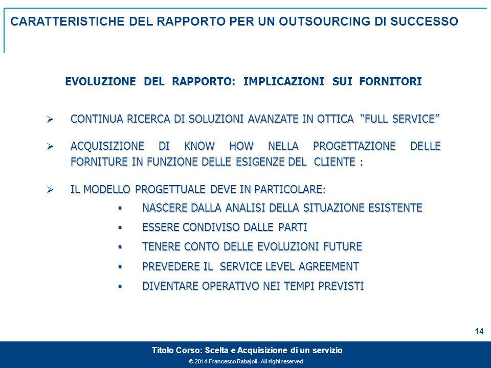 © 2014 Francesco Rabajoli - All right reserved 14 Titolo Corso: Scelta e Acquisizione di un servizio  CONTINUA RICERCA DI SOLUZIONI AVANZATE IN OTTICA FULL SERVICE  ACQUISIZIONE DI KNOW HOW NELLA PROGETTAZIONE DELLE FORNITURE IN FUNZIONE DELLE ESIGENZE DEL CLIENTE :  IL MODELLO PROGETTUALE DEVE IN PARTICOLARE:  NASCERE DALLA ANALISI DELLA SITUAZIONE ESISTENTE  ESSERE CONDIVISO DALLE PARTI  TENERE CONTO DELLE EVOLUZIONI FUTURE  PREVEDERE IL SERVICE LEVEL AGREEMENT  DIVENTARE OPERATIVO NEI TEMPI PREVISTI EVOLUZIONE DEL RAPPORTO: IMPLICAZIONI SUI FORNITORI CARATTERISTICHE DEL RAPPORTO PER UN OUTSOURCING DI SUCCESSO