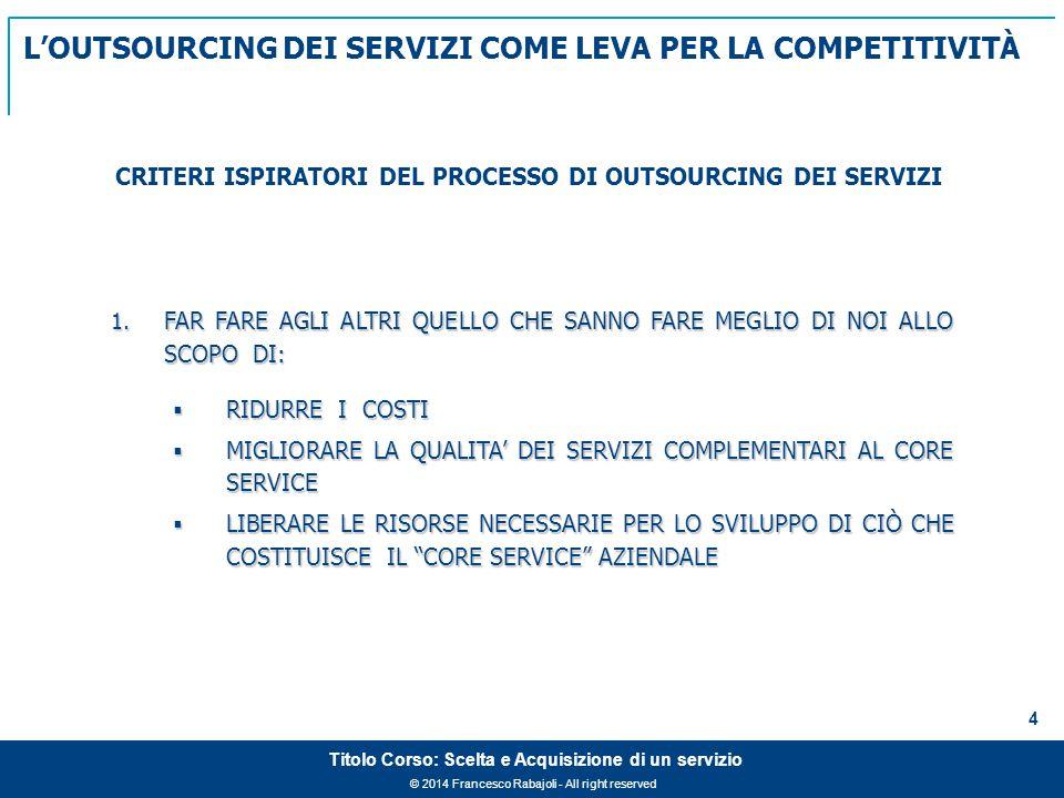 © 2014 Francesco Rabajoli - All right reserved 4 Titolo Corso: Scelta e Acquisizione di un servizio 1.