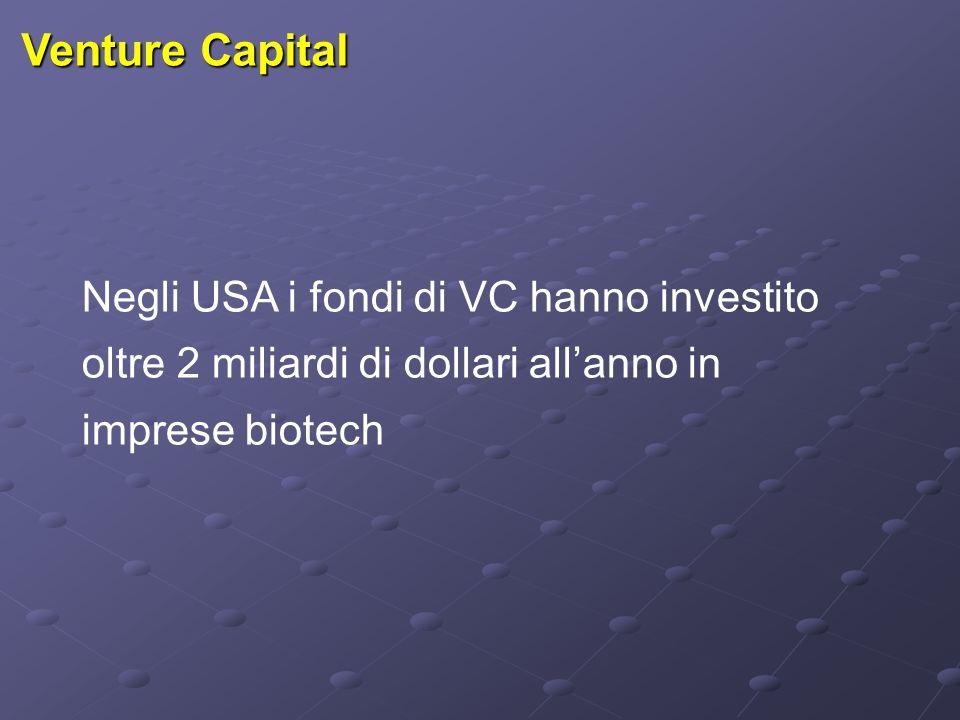 Venture Capital Negli USA i fondi di VC hanno investito oltre 2 miliardi di dollari all'anno in imprese biotech