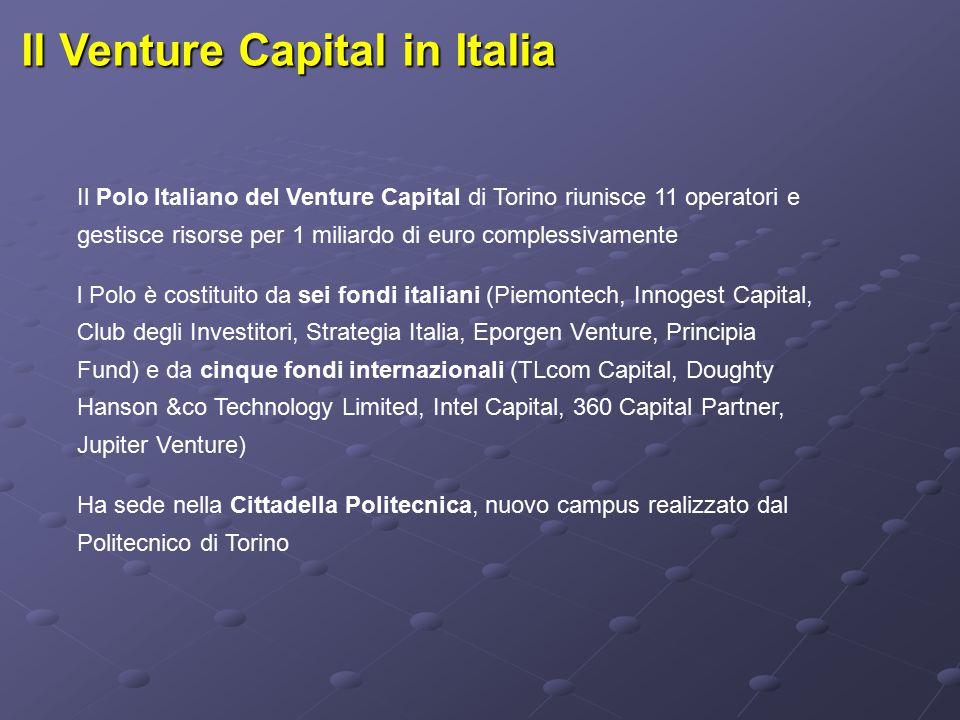 Il Venture Capital in Italia Il Polo Italiano del Venture Capital di Torino riunisce 11 operatori e gestisce risorse per 1 miliardo di euro complessivamente l Polo è costituito da sei fondi italiani (Piemontech, Innogest Capital, Club degli Investitori, Strategia Italia, Eporgen Venture, Principia Fund) e da cinque fondi internazionali (TLcom Capital, Doughty Hanson &co Technology Limited, Intel Capital, 360 Capital Partner, Jupiter Venture) Ha sede nella Cittadella Politecnica, nuovo campus realizzato dal Politecnico di Torino