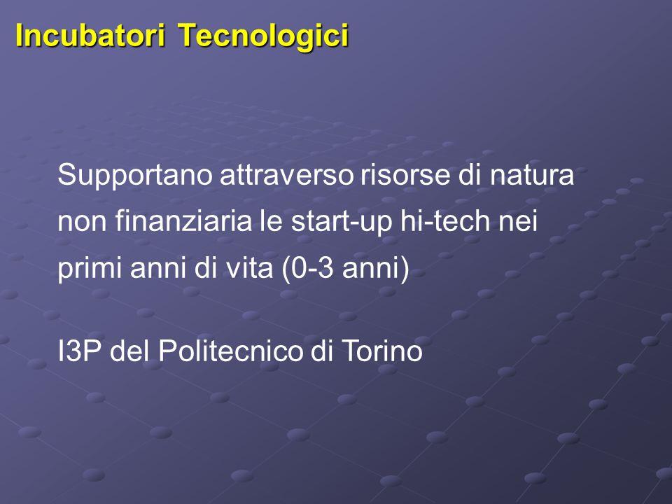 Incubatori Tecnologici Supportano attraverso risorse di natura non finanziaria le start-up hi-tech nei primi anni di vita (0-3 anni) I3P del Politecni
