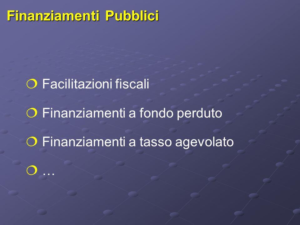 Finanziamenti Pubblici  Facilitazioni fiscali  Finanziamenti a fondo perduto  Finanziamenti a tasso agevolato  …