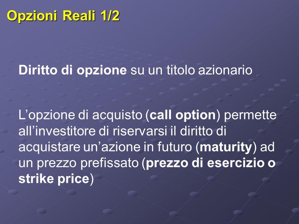 Opzioni Reali 1/2 Diritto di opzione su un titolo azionario L'opzione di acquisto (call option) permette all'investitore di riservarsi il diritto di a