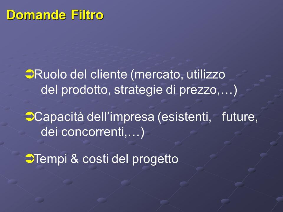Domande Filtro  Ruolo del cliente (mercato, utilizzo del prodotto, strategie di prezzo,…)  Capacità dell'impresa (esistenti, future, dei concorrenti,…)  Tempi & costi del progetto