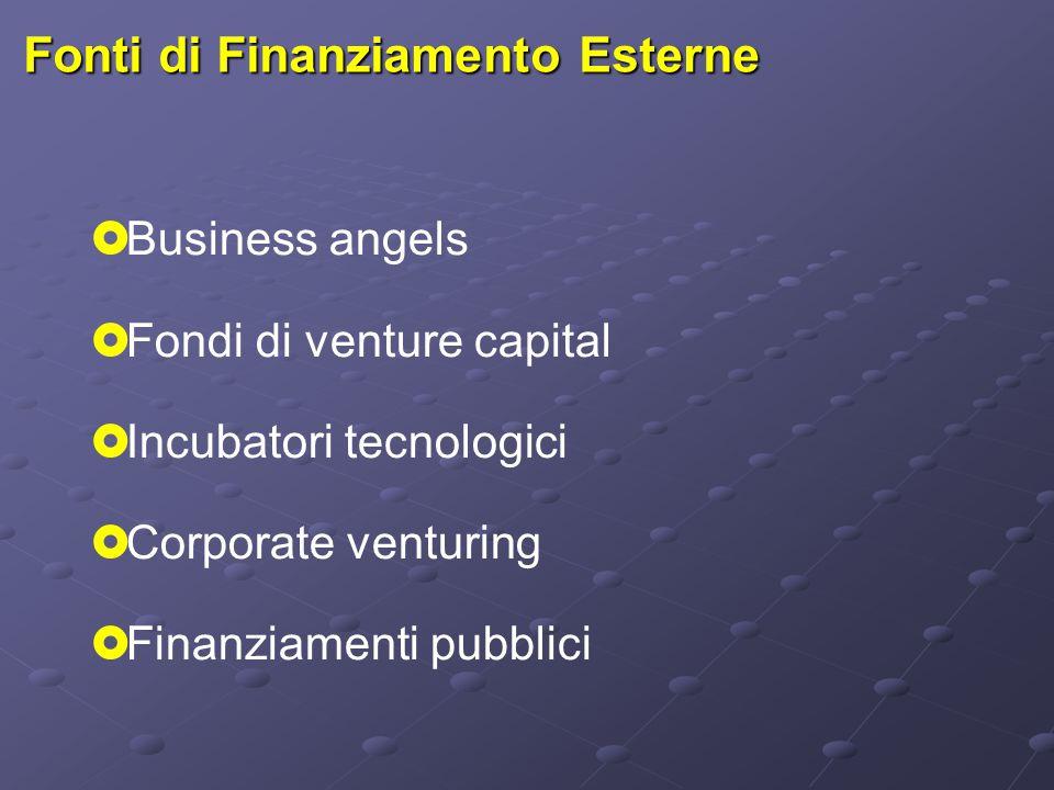 Fonti di Finanziamento Esterne  Business angels  Fondi di venture capital  Incubatori tecnologici  Corporate venturing  Finanziamenti pubblici