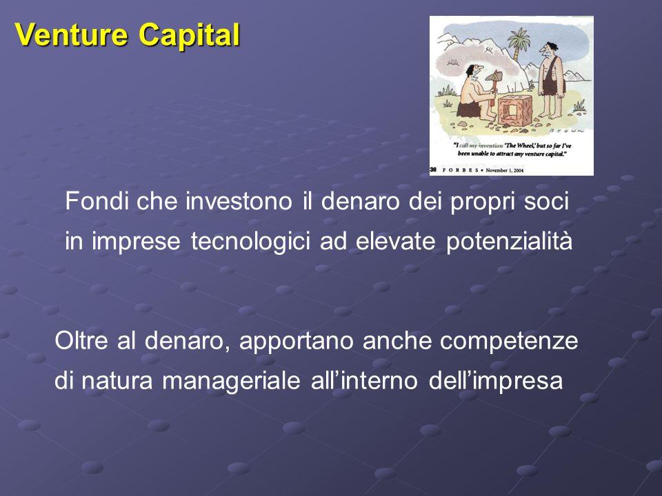 Venture Capital Fondi che investono il denaro dei propri soci in imprese tecnologici ad elevate potenzialità Oltre al denaro, apportano anche competenze di natura manageriale all'interno dell'impresa