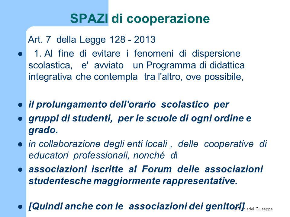 © Richiedei Giuseppe SPAZI di cooperazione Art. 7 della Legge 128 - 2013 1. Al fine di evitare i fenomeni di dispersione scolastica, e' avviato un Pro