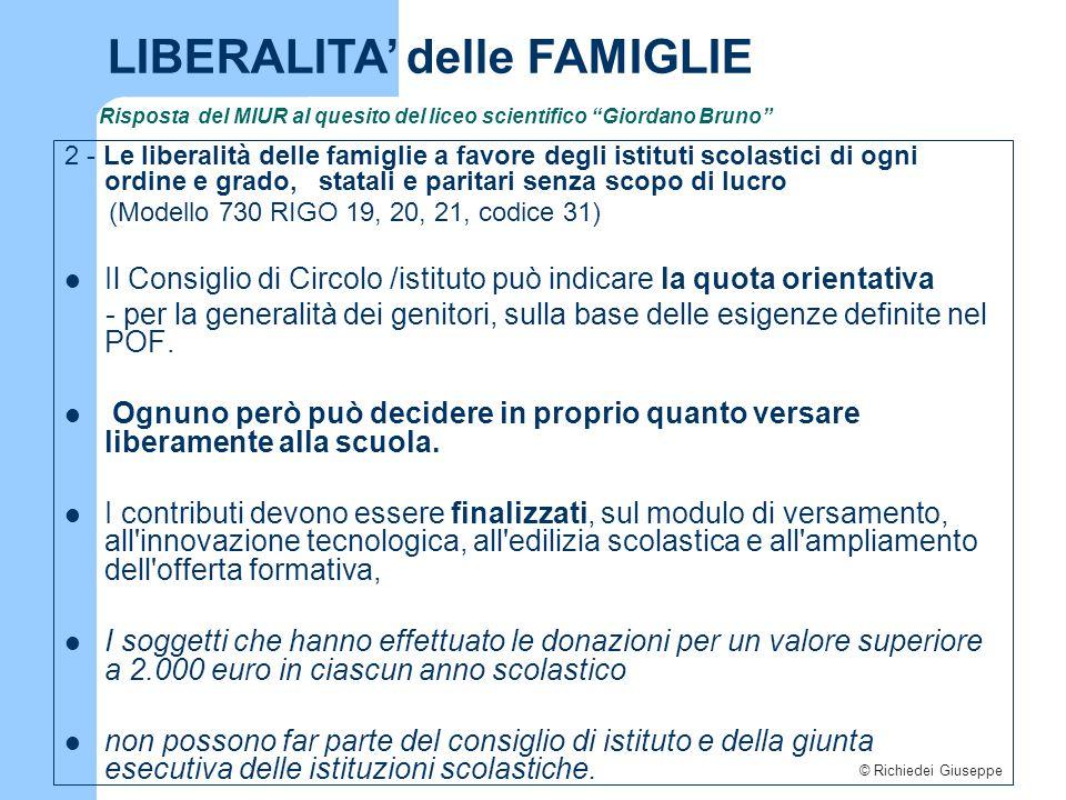 """© Richiedei Giuseppe Risposta del MIUR al quesito del liceo scientifico """"Giordano Bruno"""" 2 - Le liberalità delle famiglie a favore degli istituti scol"""