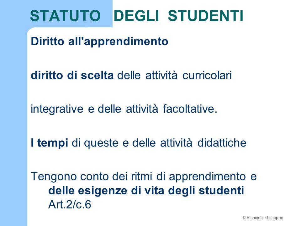 © Richiedei Giuseppe STATUTO DEGLI STUDENTI Diritto all'apprendimento diritto di scelta delle attività curricolari integrative e delle attività facolt