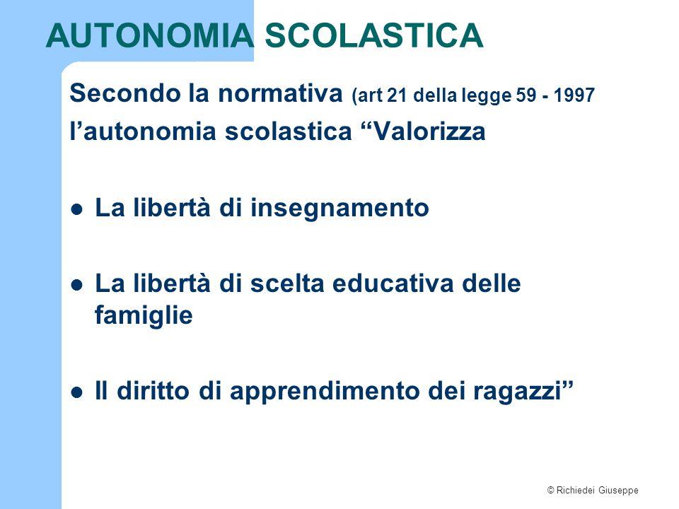 """© Richiedei Giuseppe AUTONOMIA SCOLASTICA Secondo la normativa (art 21 della legge 59 - 1997 l'autonomia scolastica """"Valorizza La libertà di insegname"""