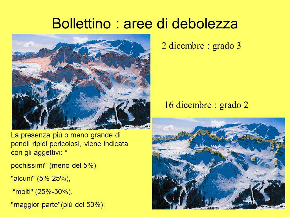 Bollettino : aree di debolezza 2 dicembre : grado 3 16 dicembre : grado 2 La presenza più o meno grande di pendii ripidi pericolosi, viene indicata co