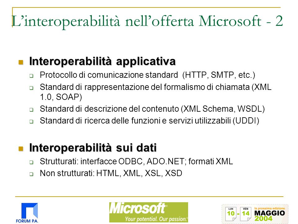 L'interoperabilità nell'offerta Microsoft - 2 Interoperabilità applicativa Interoperabilità applicativa  Protocollo di comunicazione standard (HTTP,