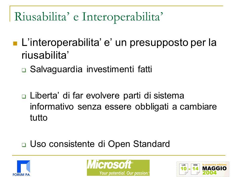 Riusabilita' e Interoperabilita' L'interoperabilita' e' un presupposto per la riusabilita'  Salvaguardia investimenti fatti  Liberta' di far evolvere parti di sistema informativo senza essere obbligati a cambiare tutto  Uso consistente di Open Standard