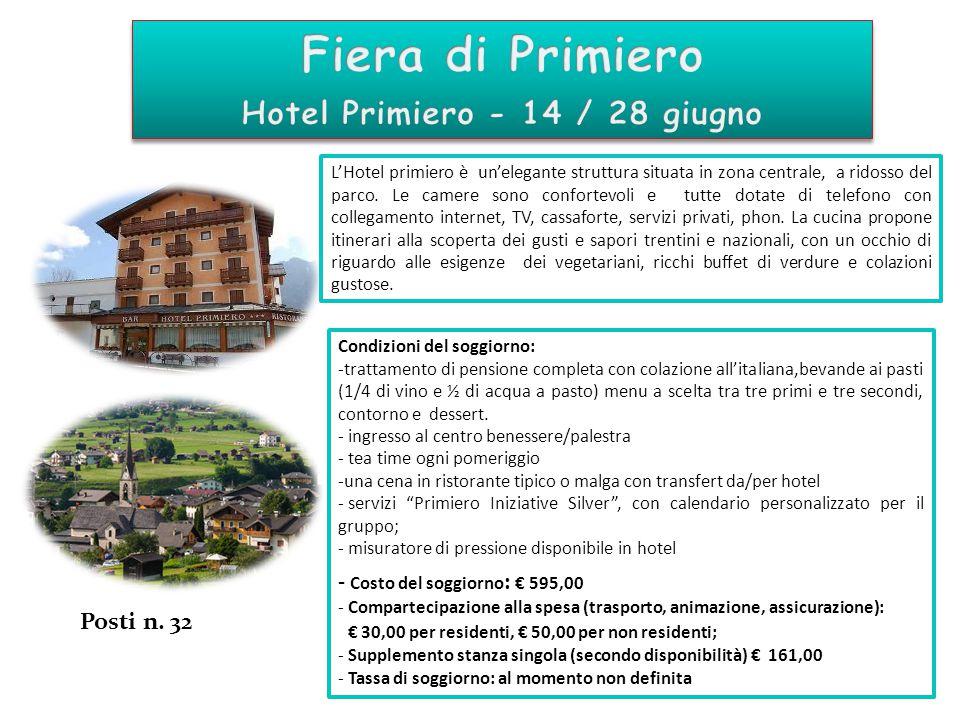 Condizioni del soggiorno: -trattamento di pensione completa con colazione all'italiana,bevande ai pasti (1/4 di vino e ½ di acqua a pasto) menu a scel