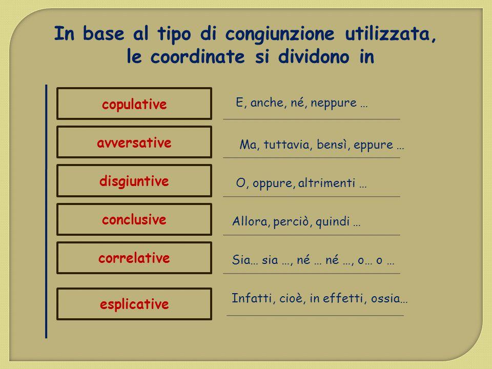 In base al tipo di congiunzione utilizzata, le coordinate si dividono in copulative avversative disgiuntive conclusive correlative E, anche, né, neppu