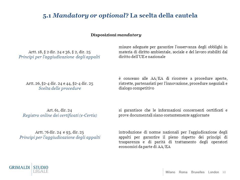 5.1 Mandatory or optional? La scelta della cautela 12 Disposizioni mandatory Artt. 18, § 2 dir. 24 e 36, § 2, dir. 25 Principi per l'aggiudicazione de
