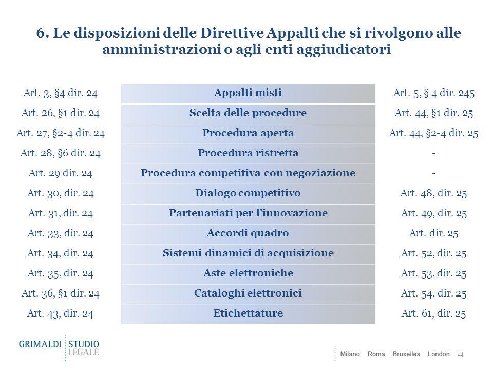 6. Le disposizioni delle Direttive Appalti che si rivolgono alle amministrazioni o agli enti aggiudicatori 14