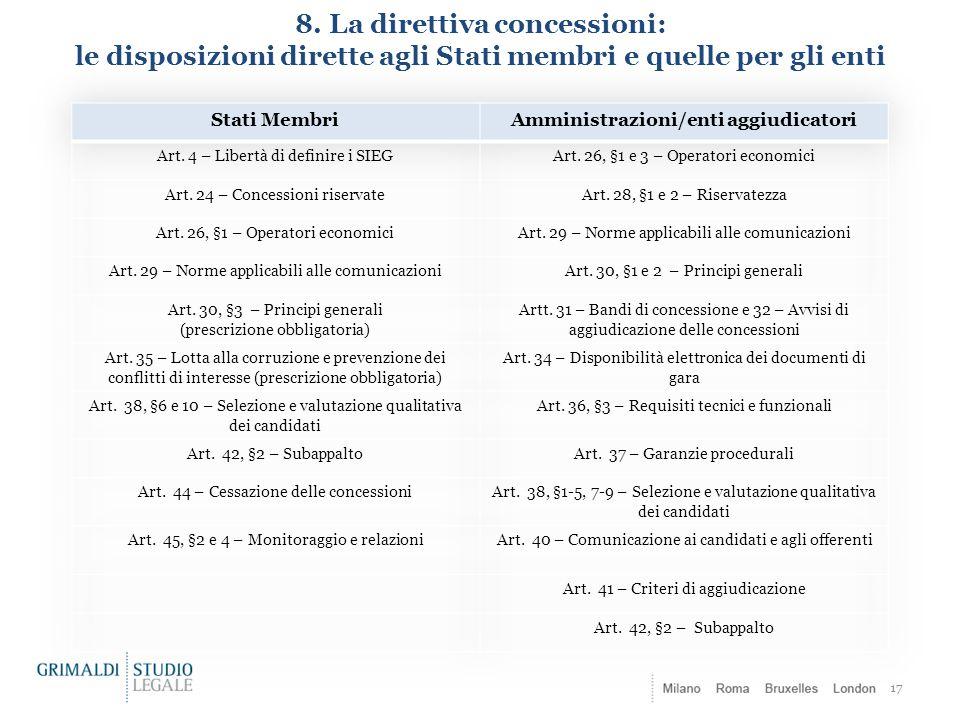 8. La direttiva concessioni: le disposizioni dirette agli Stati membri e quelle per gli enti 17