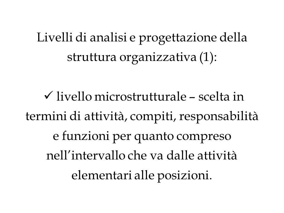 Livelli di analisi e progettazione della struttura organizzativa (1): livello microstrutturale – scelta in termini di attività, compiti, responsabilità e funzioni per quanto compreso nell'intervallo che va dalle attività elementari alle posizioni.