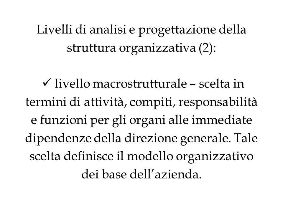Livelli di analisi e progettazione della struttura organizzativa (2): livello macrostrutturale – scelta in termini di attività, compiti, responsabilità e funzioni per gli organi alle immediate dipendenze della direzione generale.