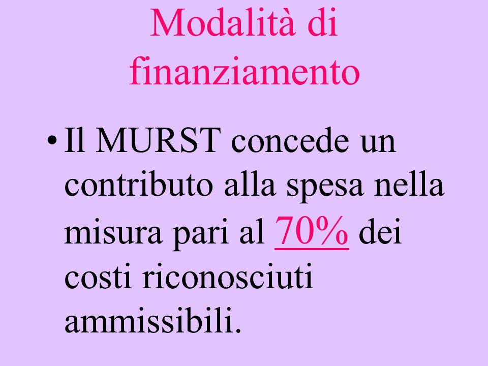 Modalità di finanziamento Il MURST concede un contributo alla spesa nella misura pari al 70% dei costi riconosciuti ammissibili.
