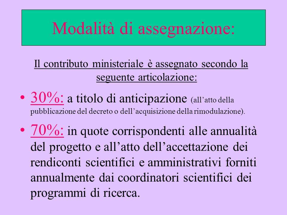 Modalità di assegnazione: Il contributo ministeriale è assegnato secondo la seguente articolazione: 30%: a titolo di anticipazione (all'atto della pubblicazione del decreto o dell'acquisizione della rimodulazione).