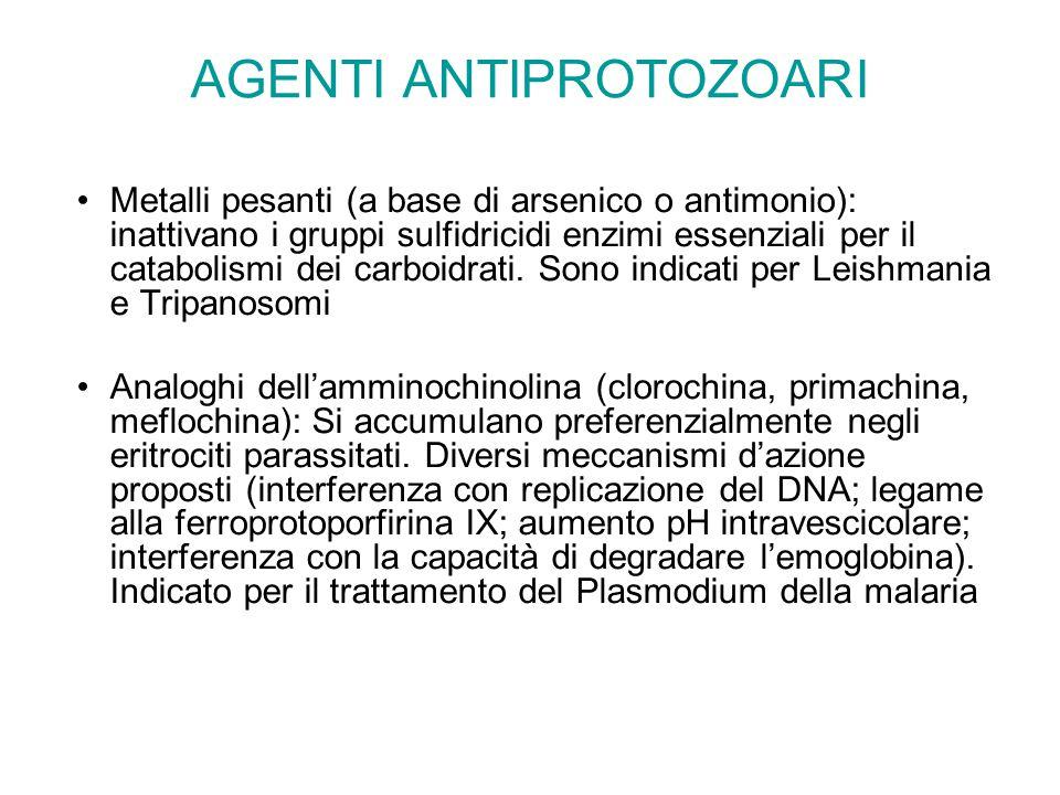 AGENTI ANTIPROTOZOARI Metalli pesanti (a base di arsenico o antimonio): inattivano i gruppi sulfidricidi enzimi essenziali per il catabolismi dei carb