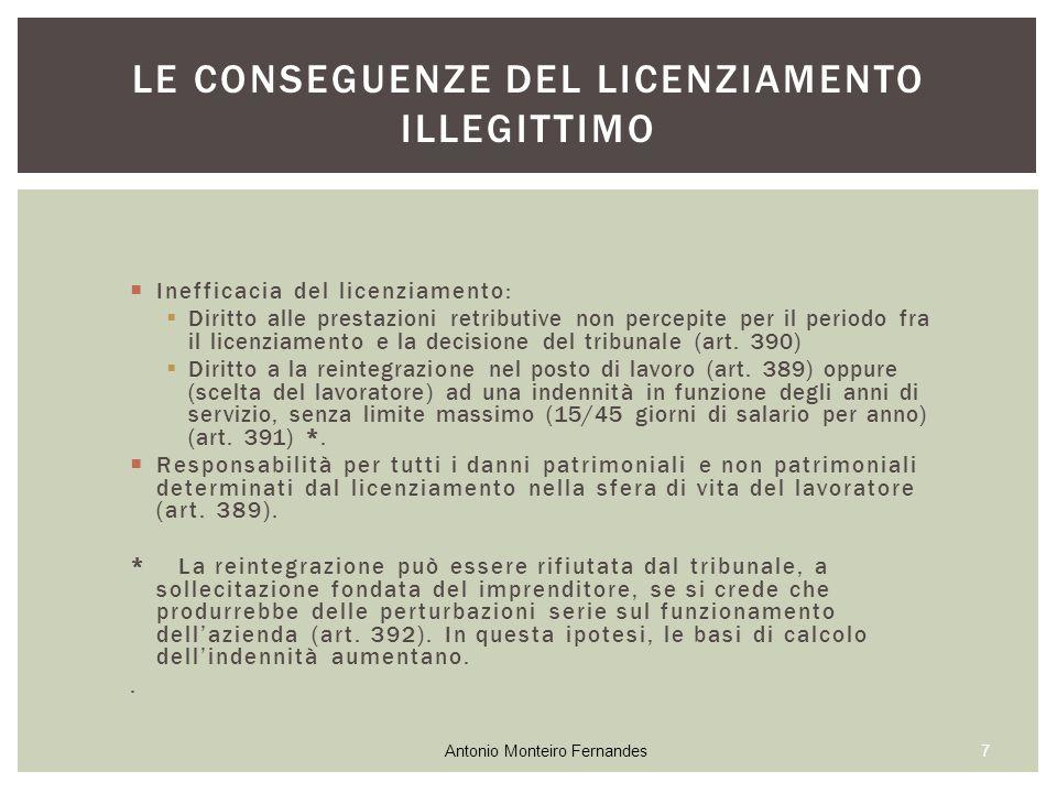  Inefficacia del licenziamento:  Diritto alle prestazioni retributive non percepite per il periodo fra il licenziamento e la decisione del tribunale (art.