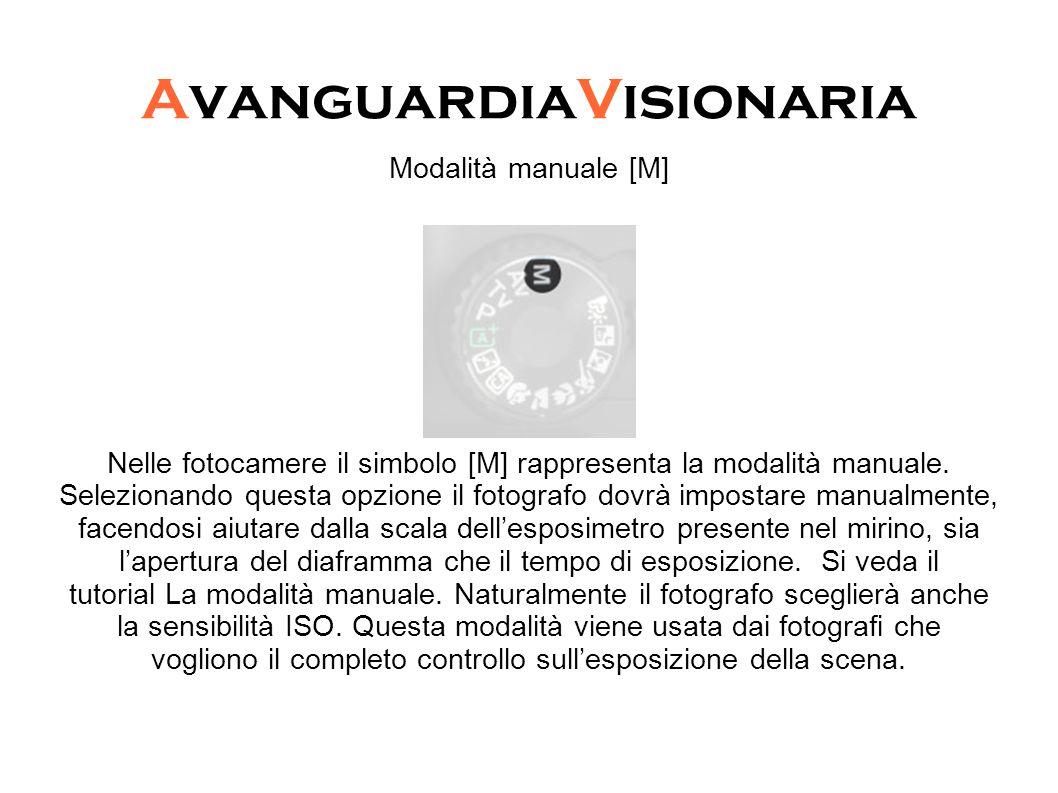 AvanguardiaVisionaria Modalità manuale [M] Nelle fotocamere il simbolo [M] rappresenta la modalità manuale. Selezionando questa opzione il fotografo d
