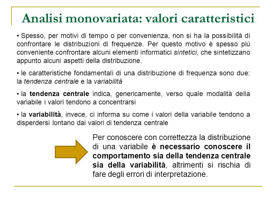 Analisi monovariata: valori caratteristici Spesso, per motivi di tempo o per convenienza, non si ha la possibilità di confrontare le distribuzioni di