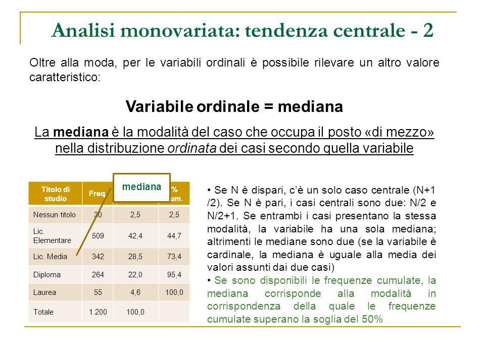 Analisi monovariata: tendenza centrale - 3 Oltre alla moda ed alla mediana, per le variabili cardinali è possibile rilevare un altro valore caratteristico, molto conosciuto: Variabile cardinale = media aritmetica La media è data dalla somma dei valori assunti dalla variabile su tutti i casi, divisa per il numero di casi La formula a sx è la definizione formale di media aritmetica e si legge «sommatoria di X con i, per i che va da 1 a N, fratto N» è possibile calcolare la media anche se abbiamo a disposizione solo la rappresentazione tabulare con le frequenze assolute.