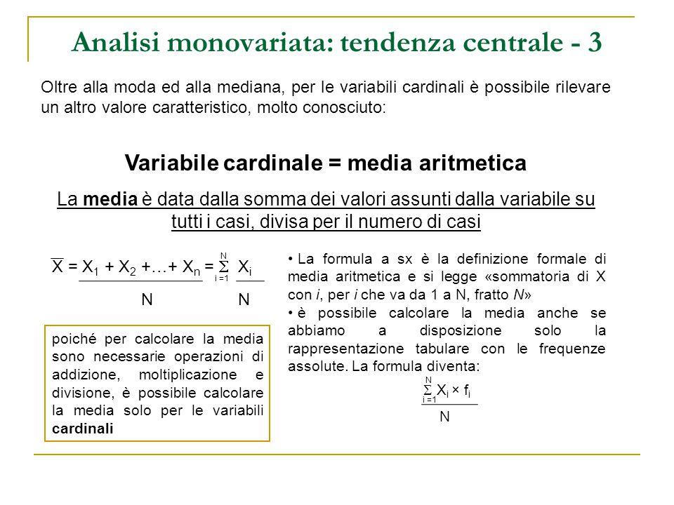 Analisi monovariata: tendenza centrale - 5 Esercizio 1: Ripartizione geografica% Italia Nord-occidentale22,9 Italia Nord-orientale22,5 Italia Centrale18,7 Italia Meridionale26,6 Italia Insulare9,3 Totale100,0 (N=60.000) Tipo di comune% Comuni fino a 2.000 ab.12,4 Comuni con 2.001 – 10.000 ab.34,7 Comuni con 10.001 – 50.000 ab30,9 Comuni con oltre 50.000 ab.22,0 Totale100,0 (N=48.664) Che tipo di variabili sono e che valori caratteristici di tendenza centrale posso calcolare?
