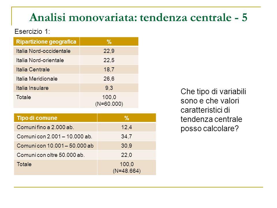 Analisi monovariata: tendenza centrale - 5 Esercizio 1: Ripartizione geografica% Italia Nord-occidentale22,9 Italia Nord-orientale22,5 Italia Centrale