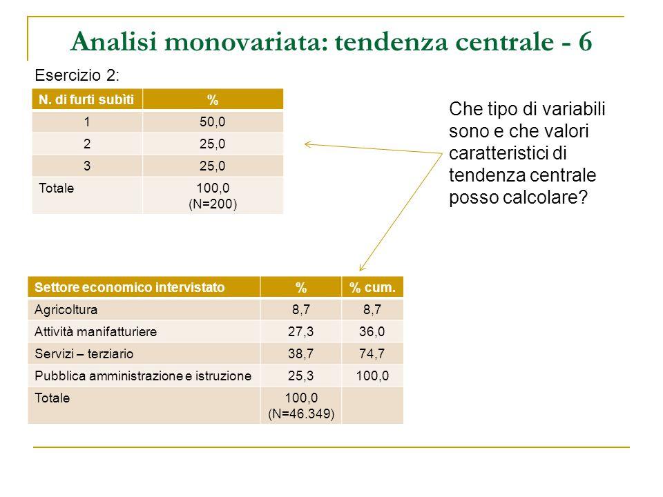Analisi monovariata: tendenza centrale - 4 Ricapitolando: variabili nominali = moda variabili ordinali = moda, mediana variabili cardinali = moda, mediana, media aritmetica Nel caso sia possibili calcolare tutti i valori di tendenza centrale, non è detto che questi coincidano tra loro.