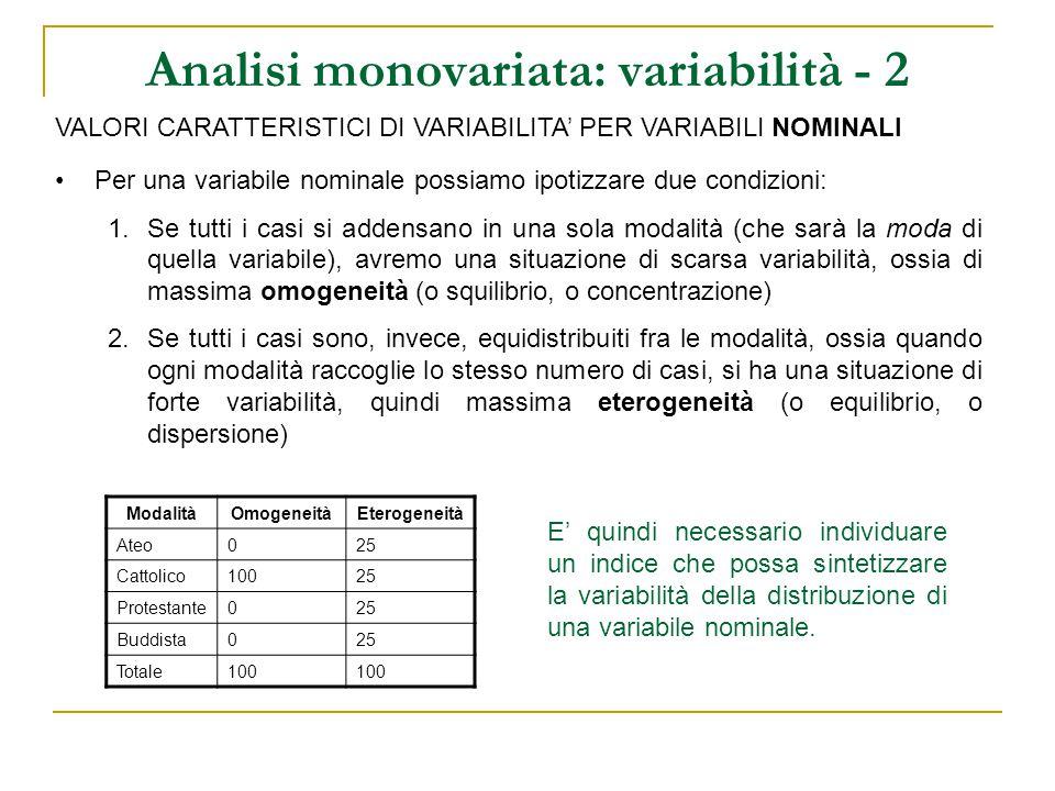 Analisi monovariata: variabilità - 3 VALORI CARATTERISTICI DI VARIABILITA' PER VARIABILI NOMINALI Il valore caratteristico di variabilità per le nominali è l'indice di omogeneità (O) O = p 2 1 + p 2 2 + … + p 2 k =  p 2 i i =1 k L'indice di omogeneità è dato dalla somma dei quadrati delle frequenze proporzionali (o proporzioni) L'indice assume valore massimo quando una sola proporzione assume valore 1 (ossia tutti i casi si concentrano in quella modalità) e tutte le altre hanno valore 0 (ossia nessun caso si concentra in queste modalità).