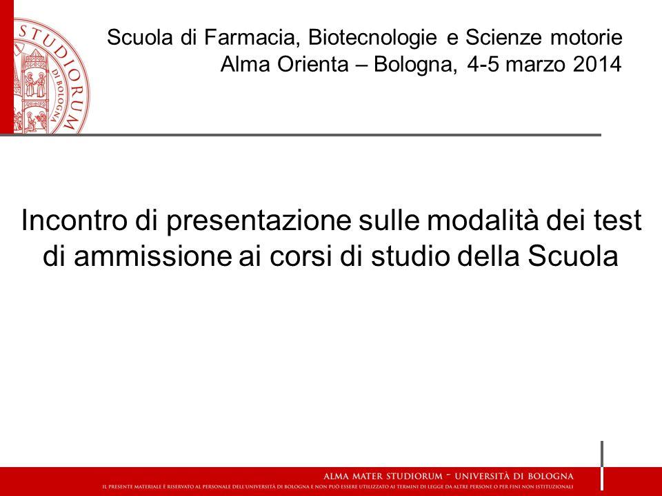 Incontro di presentazione sulle modalità dei test di ammissione ai corsi di studio della Scuola Scuola di Farmacia, Biotecnologie e Scienze motorie Al