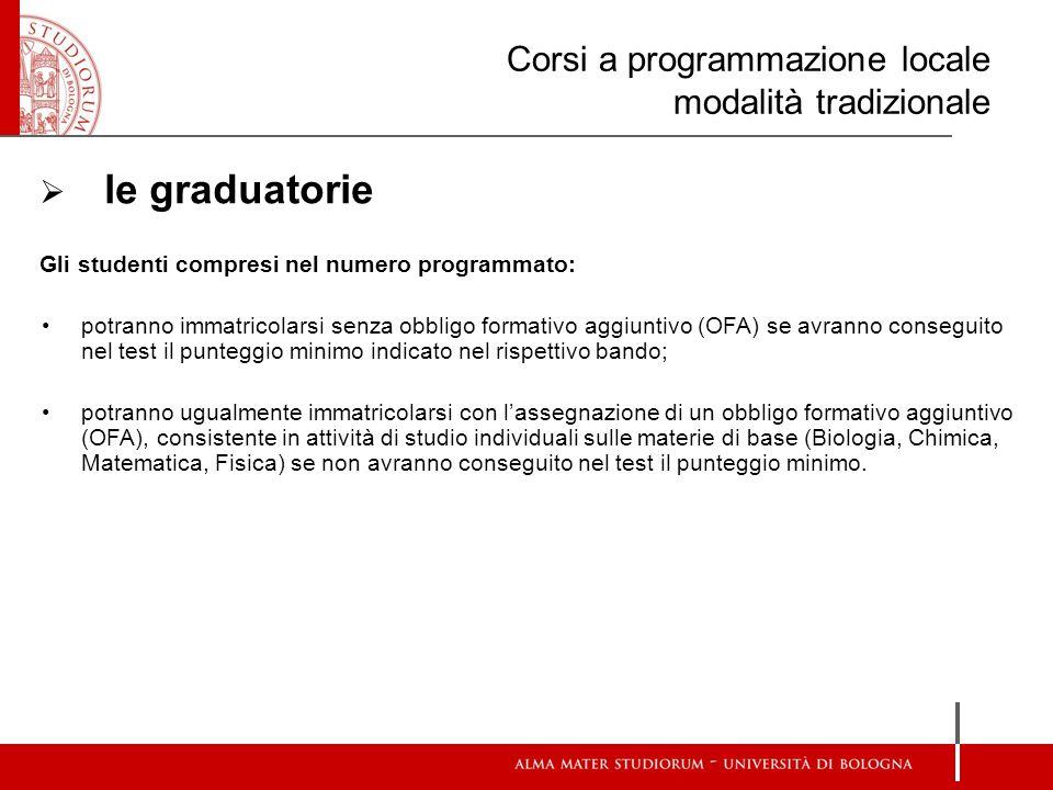 Corsi a programmazione locale modalità tradizionale  le graduatorie Gli studenti compresi nel numero programmato: potranno immatricolarsi senza obbli