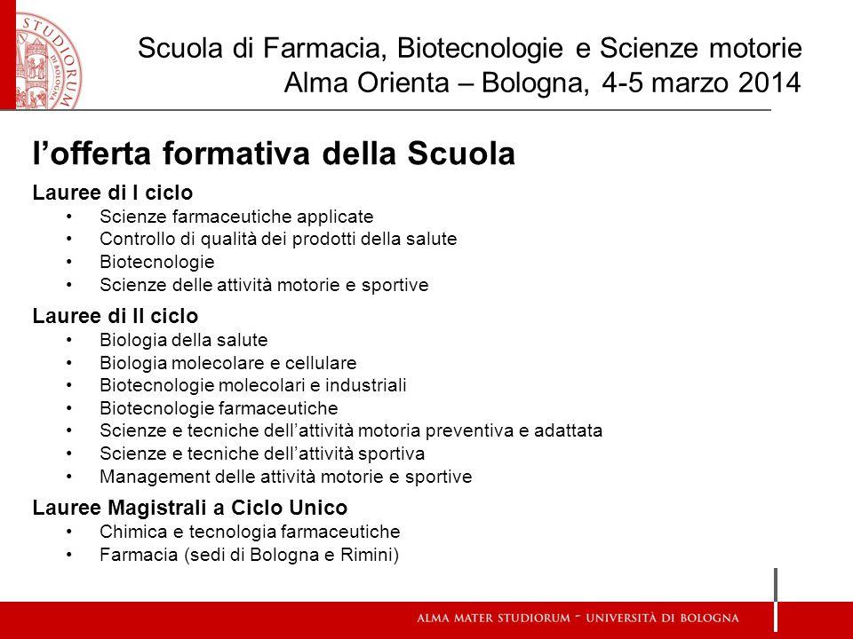 Scuola di Farmacia, Biotecnologie e Scienze motorie Alma Orienta – Bologna, 4-5 marzo 2014 l'offerta formativa della Scuola Lauree di I ciclo Scienze