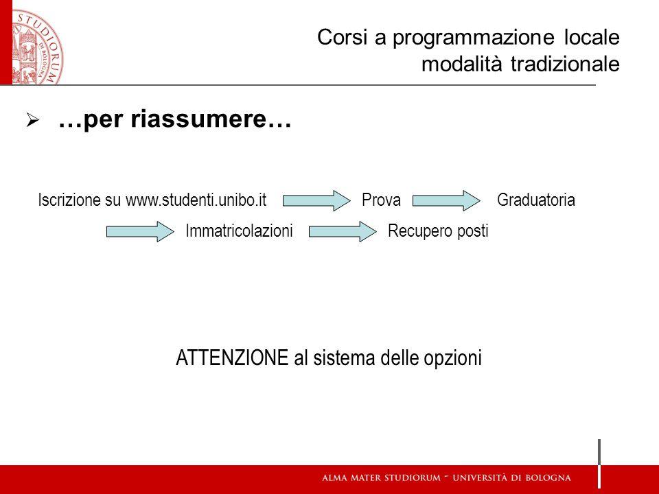 Corsi a programmazione locale modalità tradizionale  …per riassumere… Iscrizione su www.studenti.unibo.itGraduatoria Recupero posti Prova Immatricola