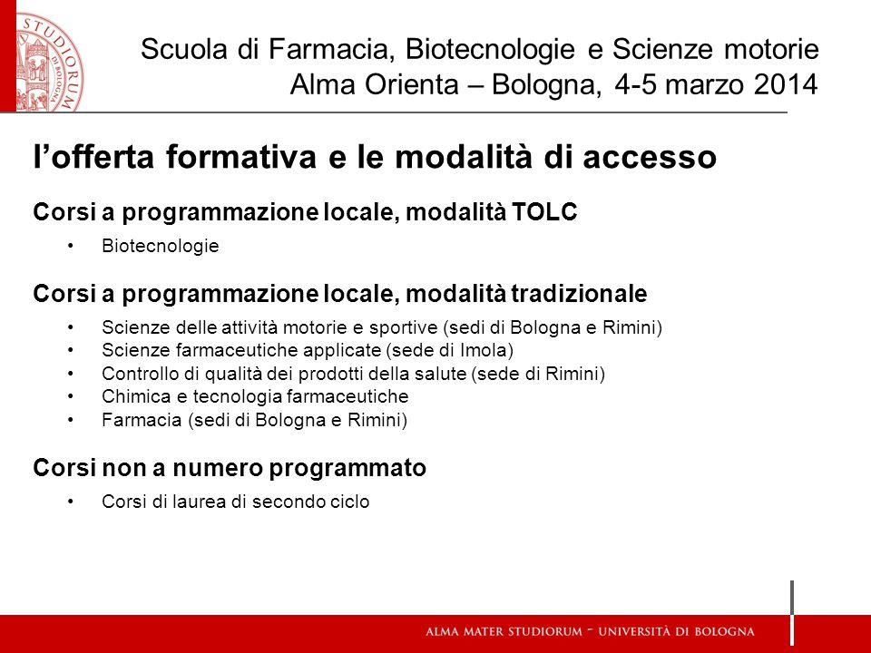 Corsi a programmazione locale modalità TOLC  Corsi a programmazione locale, modalità TOLC Il CdL in Biotecnologie è a numero programmato: 104 matricole.