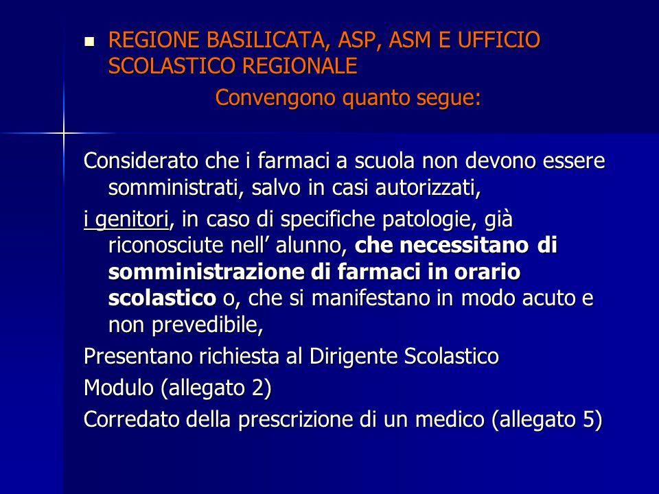 REGIONE BASILICATA, ASP, ASM E UFFICIO SCOLASTICO REGIONALE REGIONE BASILICATA, ASP, ASM E UFFICIO SCOLASTICO REGIONALE Convengono quanto segue: Consi