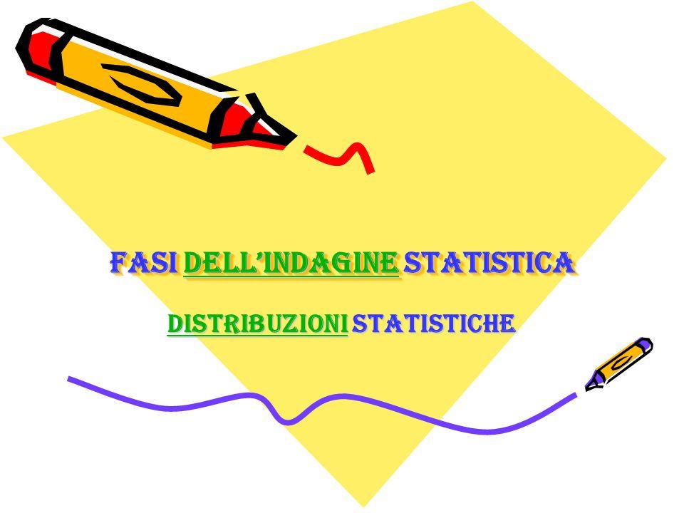 Fasi dell'indagine statistica dell'indagine Fasi dell'indagine statistica dell'indagine DistribuzioniDistribuzioni statistiche Distribuzioni