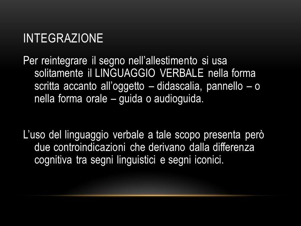 INTEGRAZIONE Per reintegrare il segno nell'allestimento si usa solitamente il LINGUAGGIO VERBALE nella forma scritta accanto all'oggetto – didascalia,