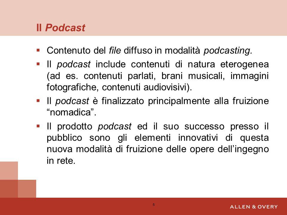 Il Podcast  Contenuto del file diffuso in modalità podcasting.