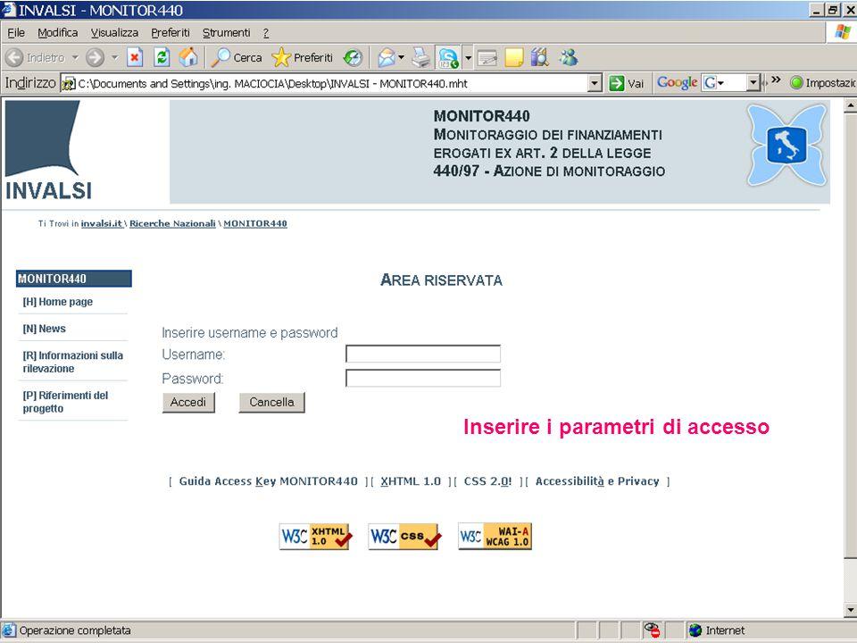 Inserire i parametri di accesso