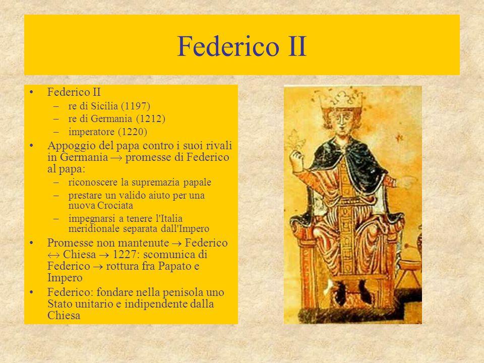 Federico II –re di Sicilia (1197) –re di Germania (1212) –imperatore (1220) Appoggio del papa contro i suoi rivali in Germania  promesse di Federico al papa: –riconoscere la supremazia papale –prestare un valido aiuto per una nuova Crociata –impegnarsi a tenere l Italia meridionale separata dall Impero Promesse non mantenute  Federico  Chiesa  1227: scomunica di Federico  rottura fra Papato e Impero Federico: fondare nella penisola uno Stato unitario e indipendente dalla Chiesa